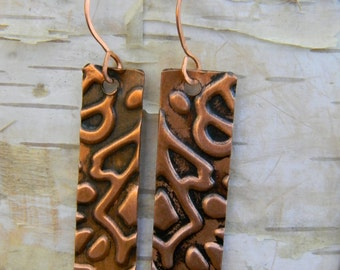 Embossed Tall Copper Earrings
