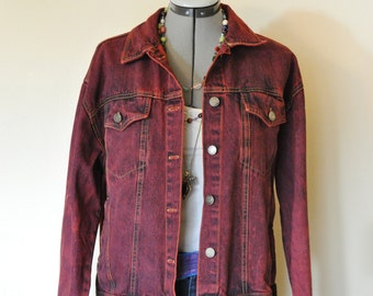 """Red Large Cotton JACKET - Scarlet Red Dyed Upcycled Robin Worth Cotton Denim Trucker  Jacket - Adult Womens Size Large (46"""" chest)"""