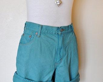 Teal Sz 14 Levi's 550 SHORTS - Hand Dyed Turquoise Teal Urban Style Denim High Waist Denim Cut Off Shorts - Adult Womens Size 14 (34 Waist)