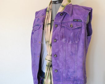 "Violet XL Denim VEST - Purple Hand Dyed Upcycled DKNY Distressed Denim Trucker Vest - Adult Womens size Extra Large (40"" chest)"