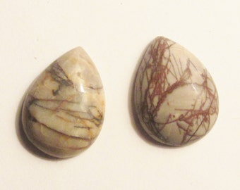 Real Jasper stone cabochons teardrop cab pair
