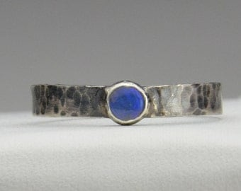 Stackable Hand Forged Sterling Silver Ring With Opal