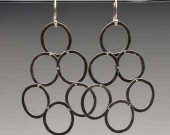 Long Riveted Hand Forged Sterling Silver Oxidized Chandelier Earrings