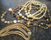 5 Pcs, Lot of Vintage necklace Jewelry Gold Tone Necklaces, Assortment Variety of Styles/Shapes