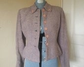 fitted, petite, 1940's pink and gray herringbone wool blazer