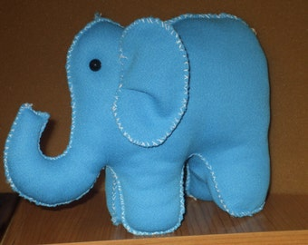 blue  stuffed fabric elephant - 6 and a half inches