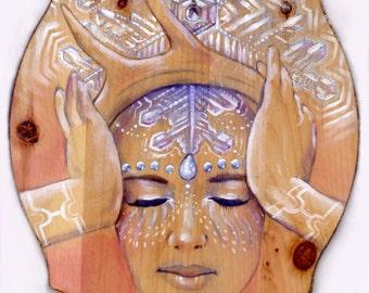 Emoto, Goddess of Manifestation, print of visionary painting by Emily Kell