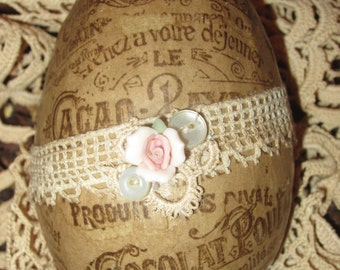 Vintage Lace Chocolat Cacao Ad Collage Easter Goose Egg 1  Spring Decor