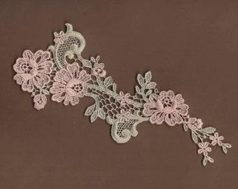 Hand Dyed Floral Venise Lace Applique  Light Vintage Sea Blush
