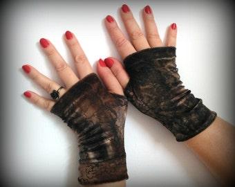 Fingerless gloves short velvet brown
