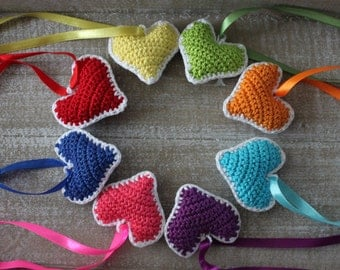Rainbow hearts, 3D crochet hearts , set of eight colorful hearts, gift ideas for Valentines day, mothers day, bridesmaid giveaways.