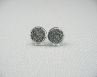 hs-Small Sparkly Light Blue Round Stud Earrings