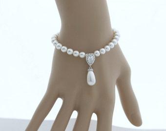 Wedding Pearl Bracelet Bridal Jewelry Pearl Drop Wedding Bracelet White OR Cream Swarovski Pearl Drop Bracelet Silver, Aria