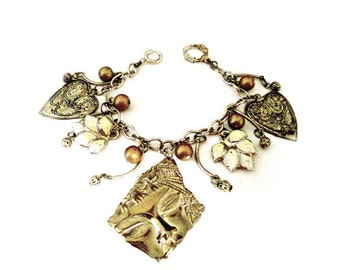 Handmade Repurposed, Vintage Art Deco Inspired, Assemblage Charm Bracelet, Repurposed Vintage Jewelry, One of a Kind OOAK, VisionsOfOlde
