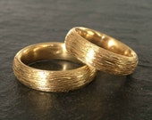 Unique wedding bands in 18k gold, wedding ring set, his and hers matching wedding rings, gold wedding bands