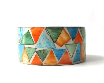 vintage 1960's brass & bone wide bangle bracelet real animal dyed inlay orange blue green geometric metal womens accessories accessory old