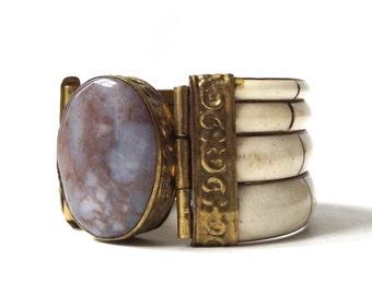 vintage 1970's bone brass bangle hinged bracelet womens accessories accessory old retro mid century jewelry stone quartz agate purple blue