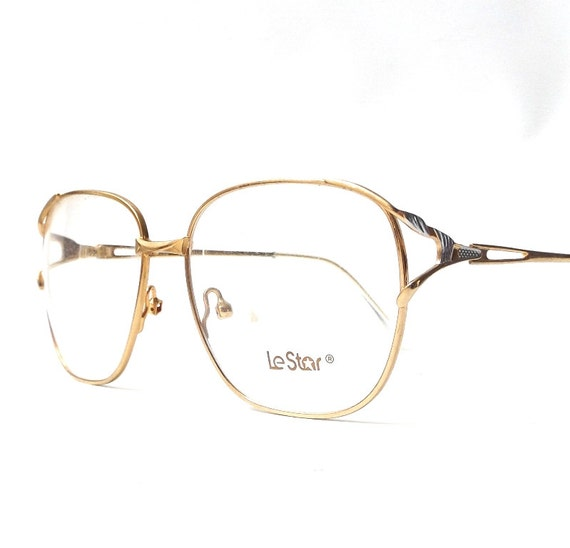 Gold And Silver Eyeglass Frames : vintage 1980s NOS le star eyeglasses thin gold silver