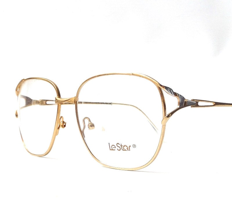 Thin Framed Fashion Glasses : vintage 1980s NOS le star eyeglasses thin gold silver