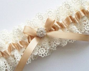 Champagne Wedding Garter  - The ALLIE Garter