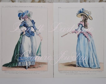 5 X 7 Inch 18th Century French Fashion Plate Reproduction Prints Suitable for Framing