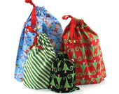 Reusable Christmas Gift Bags - Set of Four - Drawstrings with Jingle Bells - Perfect for an Eco-Friendly Christmas