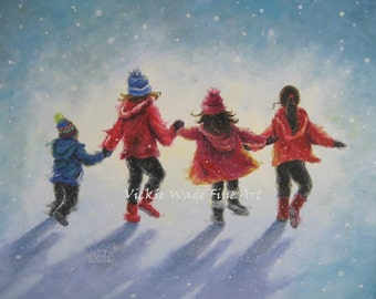 Four Children ORIGINAL Painting 14X18 three sisters, little brother, four children paintings, snow painting,winter wall art, Vickie Wade