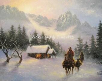 Mountain Cabin Snow Cowboys CANVAS Print 12X16 cowboys snow paintings, cowboys western wall art, gray, winter, horses, Vickie Wade art