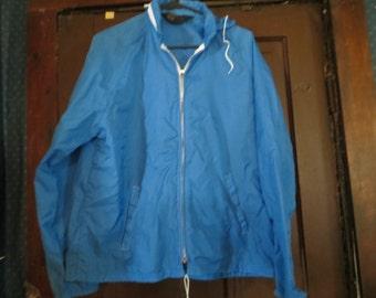 vtg  blue  womens nylon water repellent hooded windbreaker by Sherry Miami FLA    sz med