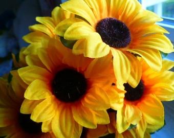 Flower Pen Set of 78 Sunflowers Yellow Orange Wedding Favors Reception Pens Guest Book Pens Party Favors Bridal Shower
