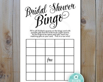Printable Shower Game Card / Bridal Shower Bingo / Fancy Script Shower Game / PRINTABLE / #520