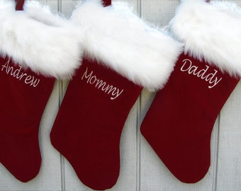 """Personalized Christmas Stockings - Velvet 19"""" with Luxury Faux Fox Fur Cuff - Christmas Stocking Embroidered with Names - Velvet Stockings"""
