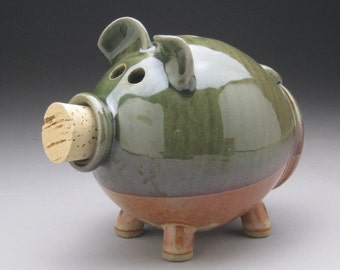 Handmade Piggy Bank - Personalized - Green and Copper - Made to Order
