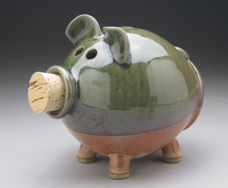 Handmade ceramic piggy bank green and copper shino for Handmade coin bank