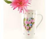 Hand Painted Coffee Tea Mug - Heart Shaped Pastel Floral Design, Polka Dot Border - READY TO SHIP Under 30 Dollars Gift Idea