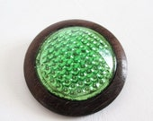 """2"""" Wood Button Faceted Dome Green Foil"""
