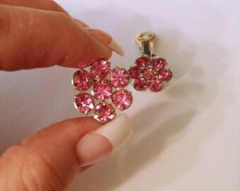 Pink Rhinestone Earrings, Clip ons, Vintage 1970's