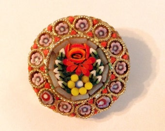 Vintage Flower Mosaic Brooch, Braided Gold Tone Trim, 1920's 1940's