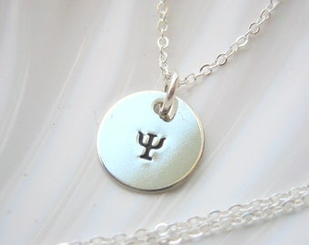 Greek Letter Necklace - Hand Stamped  - Sterling Silver - Personalized