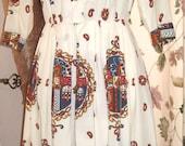 Vintage 60s Nancy Greer Shirtwaist Dress with Paisley Print and Full Skirt