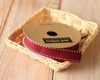 BURGUNDY Claret Stitched Grossgrain woven ribbon reel 3m