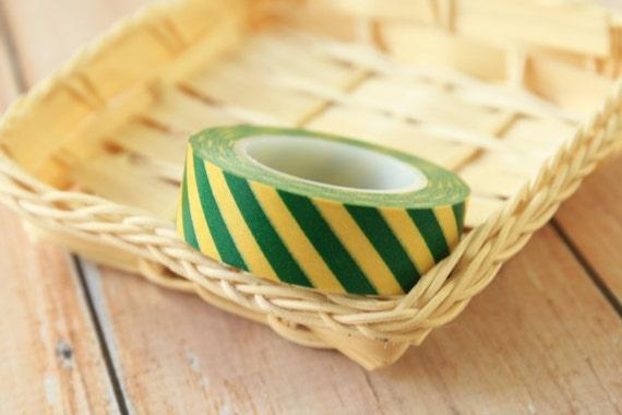 Green and Yellow Barber stripes japanese washi masking tape