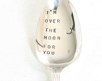 I'm Over the Moon For You, Silver Plate Stamped Spoon Coffee Stirrer.