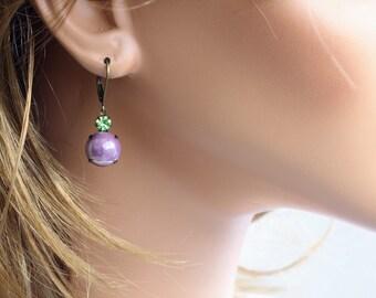 Swarovski Small Crystal Glass Earrings - Vintage Style Earrings - Rustic Style Earrings - Dangle Earrings - Simple Earrings