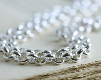 Solid Sterling Silver Chain, 4mm Rolo Belcher Chain All Lengths .925  Bright Finish or Rustic- Rollo Chain For Pendant Stone Charms, Heavy