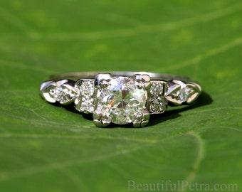 ART DECO - PLATINUM Diamond Engagement Ring - Antique  style .85 carats - Custom made - weddings - brides - luxury -  BpD02