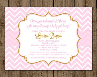 Pink and Gold Baby Shower Invitation, Gold Glitter and Pink Invite, It's a Girl, Elegant Shower Invite, 5x7 Digital File Printable DIY