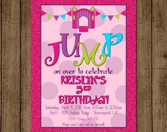 Customized Bounce House Birthday Party Invitation Girl Pink Glitter Purple Green Jump Party Polka Dot Invite 5x7 Digital File JPEG PDF DIY