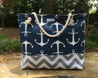 Anchor Beach Bag, Large Tote, Chevron Tote, Monogram Beach Bag