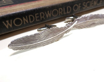 Antiqued Silver Feather Cufflinks - Soldered Cuff Links - Harry Potter Leviosa